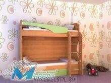 Кровать 2-х ярусная МДФ с матрацами